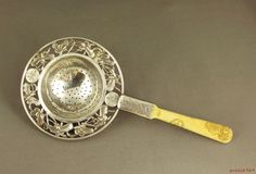 Antique Chinese Silver Export Tea Strainer Pierced Butterfly & Chased Design