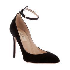 VALENTINO Buckle Stiletto Black Suede Pump Valentino1082