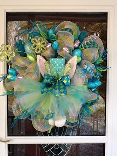 Deco Mesh Easter Bunny Wreath by WreathsEtc on Etsy, $145.00