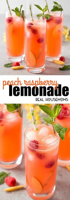 This Peach Raspberry Lemonade is a fresh, bright, and deliciously sweet. It's the perfect way to sip your troubles away! via This Peach Raspberry Lemonade is a fresh, bright, and deliciously sweet. It's the perfect way to sip your troubles away! Refreshing Summer Drinks, Fruity Drinks, Smoothie Drinks, Non Alcoholic Drinks, Cocktail Drinks, Fun Drinks, Yummy Drinks, Healthy Drinks, Cocktail Recipes