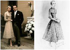 Слева - официальное фото Грейс и князя Ренье в качестве законных супругов; справа – эскиз платья для гражданской церемонии авторства Хелен Роуз