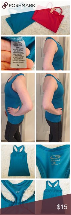️♀️ Blue Racerback Fitness Tank Top ️♀️ Worn, but in great condition! Built in bra! Champion Tops Tank Tops