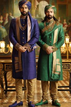 Buy Samyakk Green And Blue Silk Embroidered Achkan Sherwani online in India at best price. Blue Sherwani, Sherwani Groom, Mens Sherwani, Wedding Sherwani, Punjabi Wedding, Moda Indiana, Mens Ethnic Wear, Indian Groom Wear, Achkan