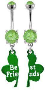 Shamrock Best Friends Belly Ring Set - Shamrock Body Piercing Jewelry: Gifts for St. Patrick's Day