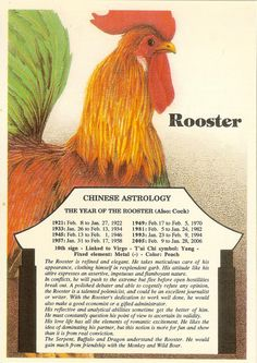 Vintage Chinese Astrology postcard: Rooster by QueenoftheRandomJob