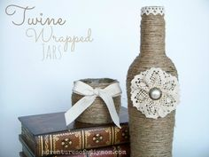Adventures of a DIY Mom - Twine Wrapped Jar with Lace Flower  **add links**