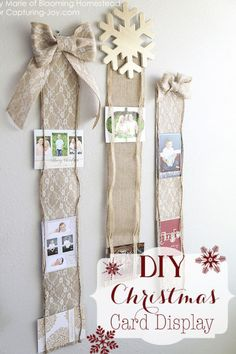 """Using burlap (this blogger specifically used lace floral burlap), 1/4"""" to 1/2"""" coordinating ribbon, scissors, hot glue, and measuring tape, you can make this marvelous display in just 30 minutes."""