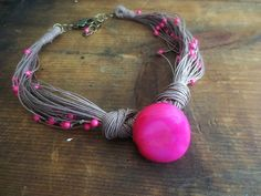 Linen Jewelry Tagua Nut Necklace Tagua Beads Shell by ReTeTeer