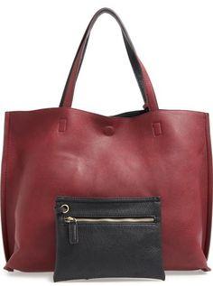 Street Level Reversible Faux Leather Tote & Wristlet, Handtaschen - Handbags, bags, clutches, purses, totes, shoulder bags