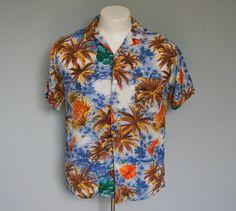 60s giant pineapples print hawaiian rayon shirt