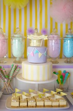 Throw a baby shower centered around cotton candy! Via Kara's Party Ideas @HUGGIES Baby Shower Planner Baby Shower Planner Baby Shower Planner