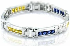 Sterling Manufacturers Men's Sterling Silver Bracelet with Princess-Cut Canary Yellow and Azure blue Cubic Zirconia (CZ) Stones, Box Lock, Platin Bracelets For Men, Silver Bracelets, Silver Ring, Cz Stones, Princess Cut, Sterling Silver, Yellow, Box, Jewellery Shops