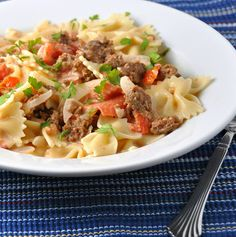 Bow Ties with Sausage, Tomatoes, and Cream