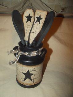 Primitive Crackle Ceramic Milk Jug & Wood Spoons ~ Black Stars ~ Country Decor #NaivePrimitive