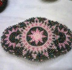 Pink and Gray native made beaded medallion barrette by Totsmaywee, $55.99