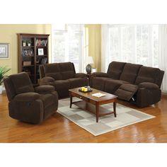 Furniture of America Borrison 3-Piece Dark Brown Flannelette Recliner Sofa Set