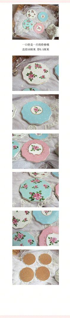 原单出口山茶花玫瑰花烫金描边陶瓷小杯垫茶杯垫餐垫盆垫拍照道具-淘宝网
