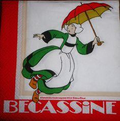 Serviette papier déco enfants / Bécassine et son parapluie : Serviettage, Décopatch par comptoir-p-titsanges