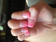 My gel nails! Pink glitters!