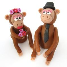 Monkey bride and groom wedding cake topper by yaelsplace on Etsy