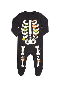 Clothing at Tesco | F&F Glow In the Dark Skeleton All In One > all in ones > Baby Halloween > Halloween