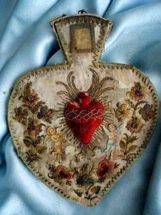 French 18th Century Christmas Heart Cherubini Angel Embroidery