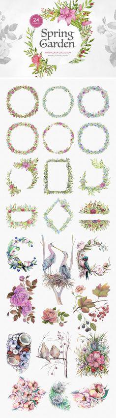 Spring Garden Watercolors - freebies pixelbuddha
