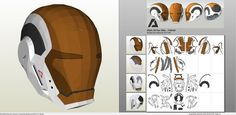 Papercraft .pdo file template for Iron Man - Mark 39 Gemini Helmet.