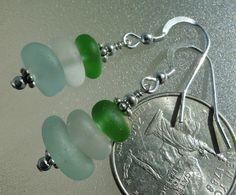 Sterling Silver Seafoam Green & White Sea Glass Earrings by HLSEAGLASS on Etsy