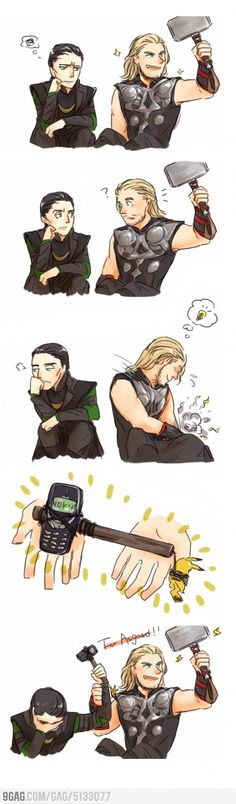 "Thor and Loki with Mjolnir and Nokia. Loki is like ""Thor, really? Marvel Jokes, Funny Marvel Memes, Dc Memes, Avengers Memes, Marvel Dc Comics, Funny Memes, Funny Comics, Loki Funny, Funny Quotes"