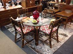 Mid Century Modern Bamboo Breakfast Table Set With Glass Top In Richmond, VA .