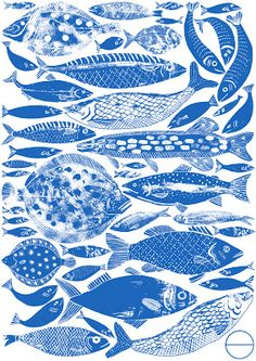Alice Pattullo: Fishes blue and white illustration Abstract Illustration, L Wallpaper, Motifs Animal, Fish Design, Art Design, Fish Art, Art Inspo, Painting, Illustrators