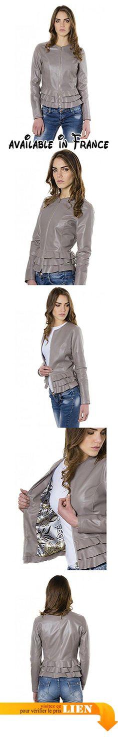 B06XVSSRBD : D'Arienzo - F105BL  couleur grise  veste rouches en cuir plongé aspect lisse - S Gris.