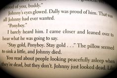 The Outsiders - S.E. Hinton.   STAY GOLD, PONYBOY. STAY GOLD. (arb.)