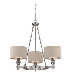 Buy the Quoizel Brushed Nickel Direct. Shop for the Quoizel Brushed Nickel Metro 3 Light Wide Chandelier with Khaki Linen Shades and save. Chandelier Picture, Chandelier For Sale, Lantern Chandelier, Chandelier Ceiling Lights, Chandelier Shades, Pendant Chandelier, Chandeliers, Wheel Chandelier, Brushed Nickel Pendant Lights