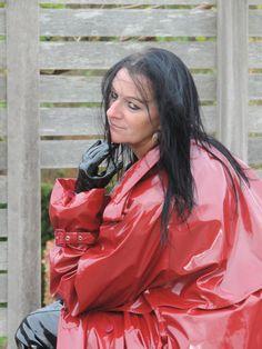 DSCN7035 Red Raincoat, Vinyl Raincoat, Plastic Raincoat, Plastic Mac, Rubber Doll, Rain Wear, Lady, Ruffle Blouse, Female