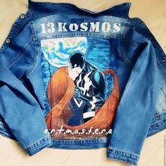 Купить Роспись одежды акриловыми красками - джинсовая куртка, стильная одежда, роспись по ткани
