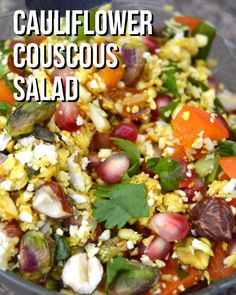 Dress up your salad. This cauliflower couscous salad with nuts, fruit and a dressing makes a compete meal! Filling and full of protein, this healthy lunch is a winner. Healthy Salad Recipes, Raw Food Recipes, Diet Recipes, Vegetarian Recipes, Cooking Recipes, Couscous Salad Recipes, Cooking Tips, Cauliflower Couscous, Vegan Cauliflower