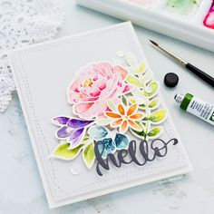 This card was one I've wanted to do for a while, to break out the Spring Flowers sets from Simon Says Stamp and put together this simple watercoloured card. Do you think if we all make Spring themed cards that the season will arrive sooner?! I've linked all supplies at the end of this post. Compensated affiliate links used. I love the look of no-line colouring for florals with a lovely stamped and masked collection of blooms, but it is more time-consuming. So for this quick card, I stamped a…
