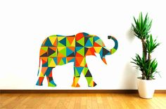 Nursery Wall Decor Elephant Wall Decal Colorful by Popitay on Etsy, $47.00