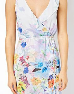 Image 3 ofWarehouse Bright Floral Wrap Dress