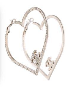Chanel Classic CC Logo Swarovski Crystal Heart Hoop Earrings