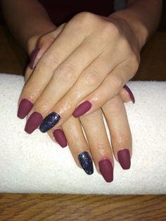 matte purple gel, black glitter