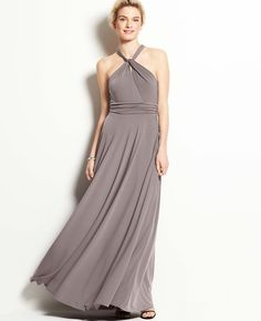 Jersey Keyhole Halter Gown in ground pepper