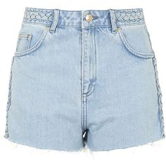 TOPSHOP MOTO Bleach Plaited Mom Shorts ($20) ❤ liked on Polyvore featuring shorts, bottoms, topshop, clothes - shorts, bleach, cotton shorts, vintage shorts, denim shorts, topshop shorts and bleached denim shorts
