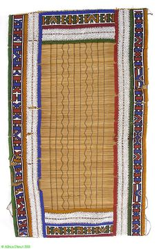 Africa | A beaded mat from the Ndebele peoples of South Africa | Vegetal fibers, glass beads and cotton threads | Mid 20th century |