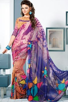 Light Burnt-sienna Brown and Indigo-violet Faux Georgette Saree Sku Code:10-2561SA143261 US $ 70.00 http://www.sareez.com/product_info.php?products_id=113704