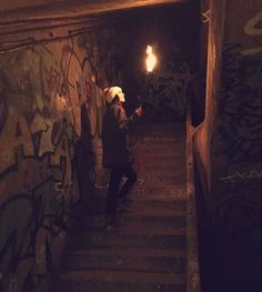 Stairs lead to the post office. They probably ends with closed and forgotten doors. - Night Tour In The Paris Catacombs Best of Web Shrine Messy Nessy Chic, France Photos, Paris France, Art Inspo, Tours, History, Night, King Lear, Painting