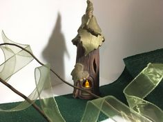 SALE Woodland Fairyhouse Handmade Pottery with Grape Leaf Roof #Sale #HandmadePottery #CandleHolder #HomeDecor #FairyNightlight #WoodgrainTexture #fairyhouse #GiftIdeas #FantasyArt