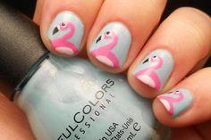 Pastel flamingo nails. So very retro and Palm Beach.
